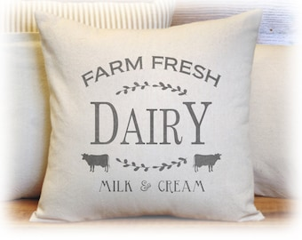 Dairy, Milk and Cream, Farm Fresh, Pillow Cover