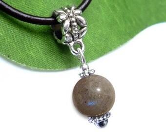 Silver plated sphere pendant - labradorite