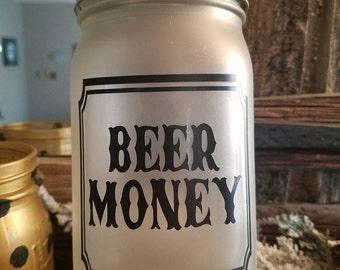 Beer Money Mason Jar Bank (quart size)