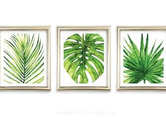 Tropical Leaf Wall Art, Monstera plante impression, feuille, Art mural, palmier, feuille d'impression, monstera feuille aquarelle imprimer, ensemble de 3 tirages