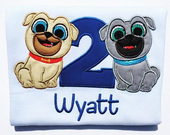 Adventurous Pugs Birthday Embroidered T-Shirt-Boys or Girls
