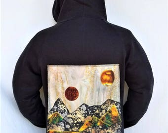 Desert Patchwork Hoodie - Psychedelic Hoodie - Patchwork Desert Patch Fabric Collage