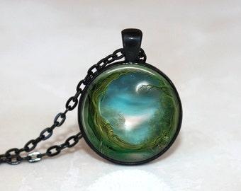 Glass Tile Necklace Moon Necklace Glass Tile Jewelry WiccanJewelry Moon Jewelry Black Necklace Black Jewelry Wiccan Necklace