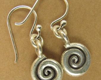 Tiny spiral earrings. Fine silver. Sterling silver hooks. Dangle.