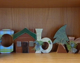 Cabin Decor,Woodsy Decor, Hunting Cabin decor, Cabin letter set, Cabin