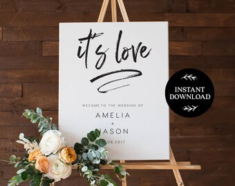 Welcome Sign INSTANT DOWNLOAD Editable PDF, Welcome to Our Wedding Sign, Wedding Welcome Sign - Harper