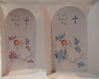 Personalised Handmade Arched Baptism Card with Foiling and Verse