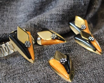 Beautiful And Sassy Triangular Gold Plated, Black and Mustard Yellow Charm pendant, Bracelet, Brooch and Clipon Earring set.