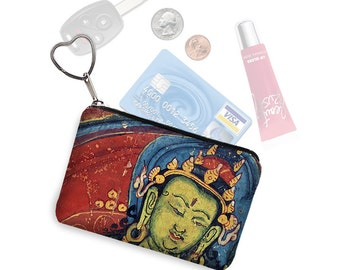 Zipper Coin Purse Keychain Fob in Boho Buddha Business Card Case Small Zipper Pouch Asian fabric blue red green jewel colors RTS