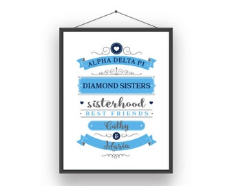 ADPi Alpha Delta Pi Big Little Sorority Sister Print - Ready To Frame Customize With Names