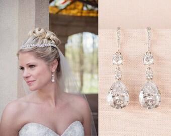 Crystal Bridal Earrings, Crystal Wedding earrings, Crystal earrings, Wedding Jewelry, Bridal Jewelry, Trina Crystal Drop  Earrings