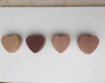 Natural Heart Shaped Soap coloured with French or Australian Pink Clay Valentines Day Gift
