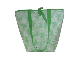 Green Tote Bag,  Floral Purse, Butterfly Cloth Purse, Handmade Handbag, White Flowers, Green Fabric Bag, Shoulder Bag