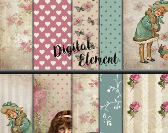 Commercial Use: Digital Paper, Scrapbook, Digital Floral Vintage Background , Pink Shabby Paper, Shabby Chic Scrapbook Paper. No. P157
