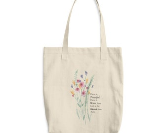 Watercolor Florals | Cotton Tote Bag | Inspirational Quote