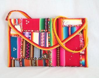 Patchwork handbag with Andean fabrics, Andean purse, sequins wallet, purse handbag, bohemian handbag, boho wallet, elegant wallet, large