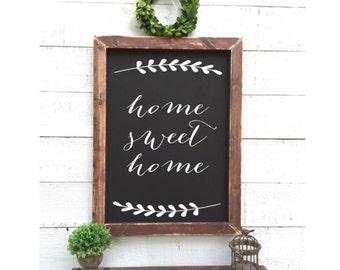 home sweet home sign, framed chalkboard
