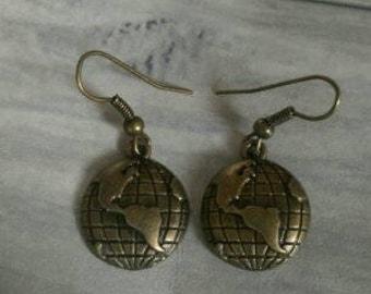 Bronze Earth Earrings, Planet Earrings, Wanderlust Earrings, Travel Inspired Earrings, Earth Jewellery, Bronze Globe Earrings