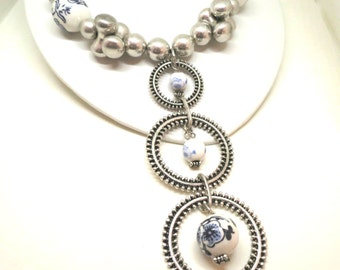 Blue and White Porcelain Necklace - Eclectic, Silver Tone, Amrita Singh Signed, Tiered Pendant Necklace