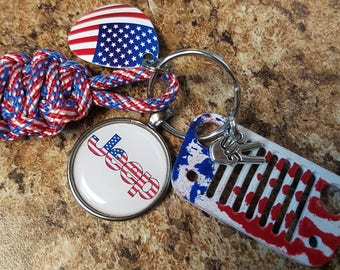 Jeep Grill Key Fob with powder coated grill in Flag, flag fob, jeep in flag, flag charm and jeep wave