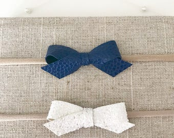 Set Of 2 Navy & White Bows On Headbands||Faux Leather||Glitter Fabric