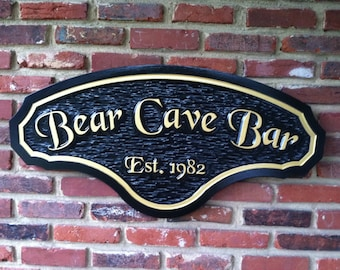 Custom Carved Man Cave Sign - Men's Room Club Sign Personalized