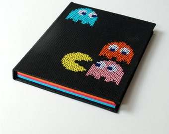 nerdy geeky notebook pacman nintendo 8bit, embroidered, A5, 80pages