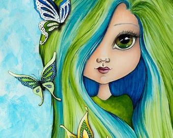 Blue Butterfly Dreams - Mixed Media Girl - Fine Art Print