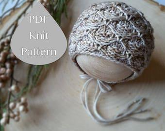 PDF Knit Pattern #0094 The Raleigh Knit Bonnet Newborn Knit Pattern PDF Tutorial Intermediate Instruction Newborn Photography Prop Dk Yarn
