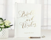 Gold Foil Wedding Guest Book • Gold Foil & White Personalized Calligraphy Guestbook • 8 x 10