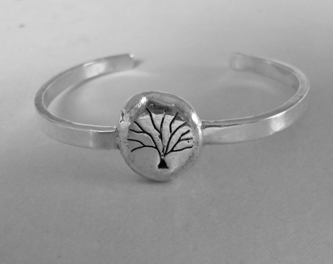 Tree of Life cuff bracelet solid back