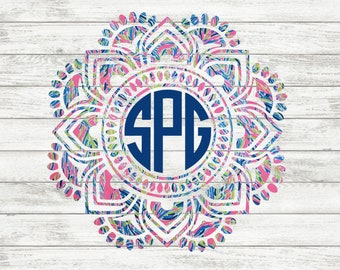 Lilly Pulitzer {inspired} Mandala Monogram Decal | Lilly Pulitzer Monogram | Mandala Decal | iPhone Decal | Laptop Decal | Car Decal
