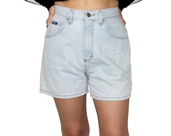 High Waisted Denim Shorts, High Waisted Mom Shorts, Vintage Denim Shorts, 90s High Waisted Denim Shorts, Light Wash Denim Shorts