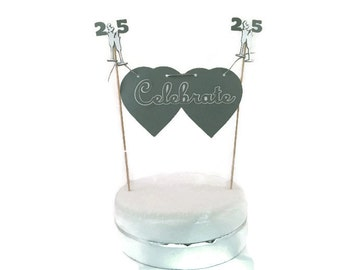 Silver Wedding cake topper,silver & white,silver anniversary,married 25 years,25th birthday party,silver wedding,25th anniversary