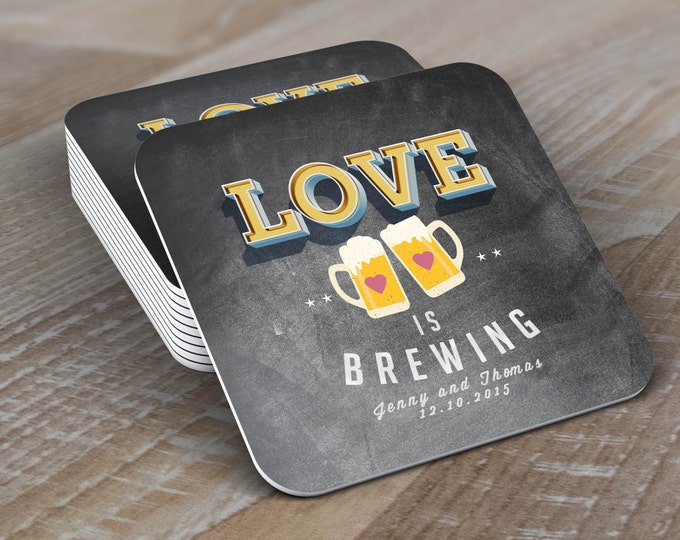 Digital logo file  LOVE is brewing, Coed wedding shower invitation- Beer- couples shower  -  BBQ, party, bridal shower, wedding, coaster