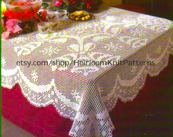 Christmas Filet Crochet Tablecloth Pattern Bells and Bows Filet Crochet Pattern Christmas Ornaments Instant Digital Download PDF - 2201