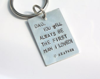 Father's Keychain - Father's Day Gift From Daughter - Father of the Bride Gift - Father of the Bride Keychain - First Man I Loved