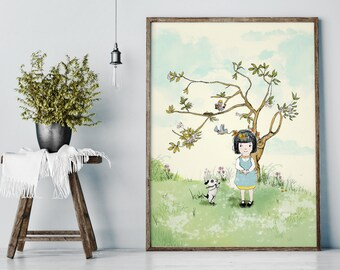 My Lovely Tree in Spring - Girl Art - Holli - Nursery Wall Art - Nursery Decor - Childrens Art - Kids Wall Art - Nursery Art