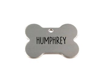Stainless Steel Engraved Bone-Shaped Dog Tag - Unique Custom Pet ID - Strong Metal Tag