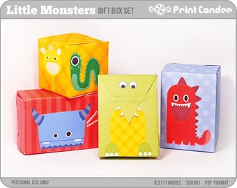 70% OFF SALE! - Cute Monsters - Printable Party Favor Boxes / Party Favor Set - Personal Use Only - Printable - DIY