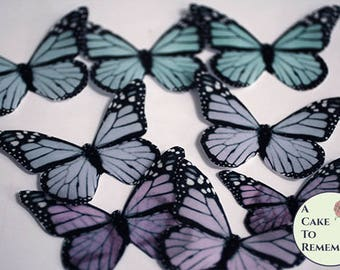 """12 pastel edible butterflies, 1.5"""" -2"""" pink and blue ombre monarch style for baby shower cakes, pastel goth cake decorating, cupcake toppers"""