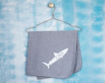 Personalised Shark New Baby Blanket - Baby Name Blanket - Receiving Blanket - Christening Keepsake - Gift for Godchildren - Baptism Gift