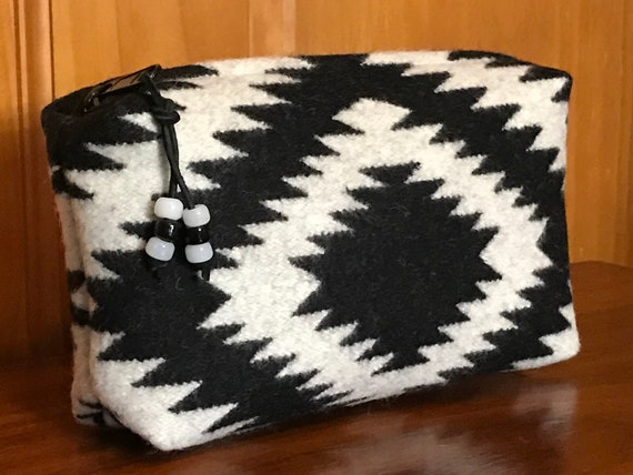 Cosmetic Bag / Makeup Bag / Zippered Pouch Large Black & White