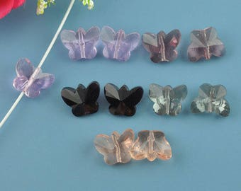 PC17 - Set of 2 Butterfly Crystal, 15mm color choice