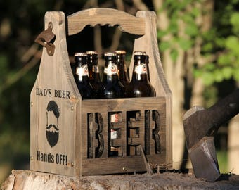 Beer carrier Beer Caddy Beer box 6 pack holder Wood beer caddy Beer tote Gift for man Wooden six pack Father's gift Father's day gift Beer