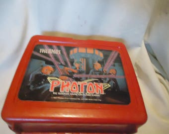 Vintage 1987 Photon The Ultimate Game On Planet Earth Plastic Lunch Box, NoThermos, Lunchkit, collectable