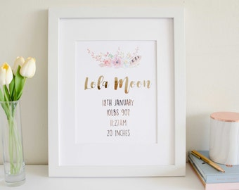Baby Girl Boho Floral Personalized Name Print and Birth Announcement - Rose Gold Foil and Watercolor - Baby Gift