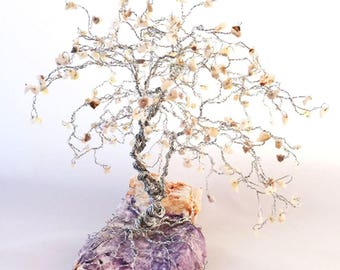 Large Bonsai Gem Tree, Custom Order, Anniversary Gifts, Wedding Gifts, Wire Tree Sculpture, Family Birthstone Tree, Friendship Gift