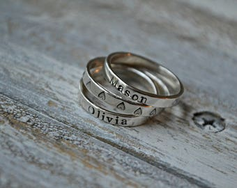 Stamped Stacking Ring- hand stamped ring, Skinny ring, personalized ring, silver ring, gift for her, mother's day gift