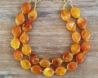 Yellow Bead Necklace - Chuncky Beaded Statement Necklace Multistrand in Yellow